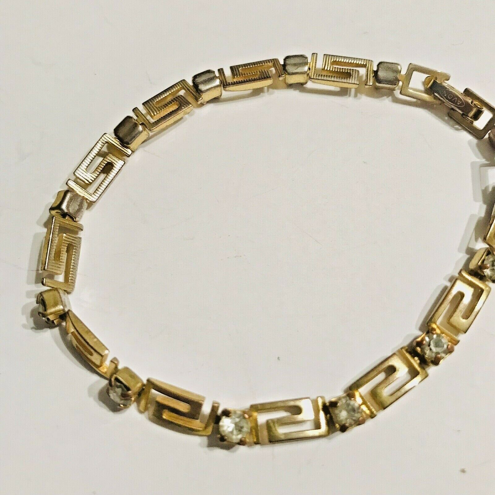 Primary image for Vintage Avon Tennis Bracelet Gold Tone & CZ Scroll Work Design J0691