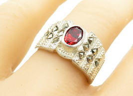 925 Sterling Silver - Vintage Oval Cut Garnet & Marcasite Band Ring Sz 8... - $28.01