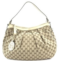 #31674 Gucci Supreme Sukey Gg Brown and White Cream Canvas Leather Hobo Bag - $500.00