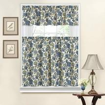 Waverly Porcelain Floral Kitchen Curtain Set Tiers Valance Blue Yellow 52x36 - $22.30