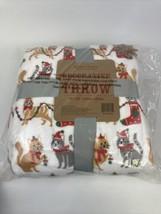 XMAS Berkshire Festive Cats Soft Decorative Throw Blanket Holiday Kitty 60X80 - $29.69