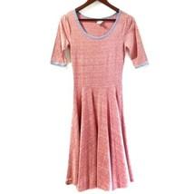 LuLaRoe Womens Nicole Dress XS Heathered Red Blue Trim Full Skirt Mid Sleeves - $29.99