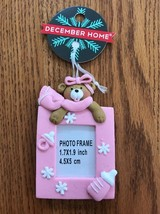 BABY Mini Picture Frame Pink Teddy Bear Christmas Tree Ornament Ships N 24h - $7.90
