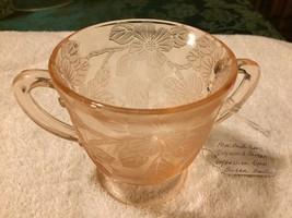 MACBETH EVANS DOGWOOD APPLE BLOSSOM PINK DEPRESSION GLASS SUGAR BOWL W/ ... - $7.95