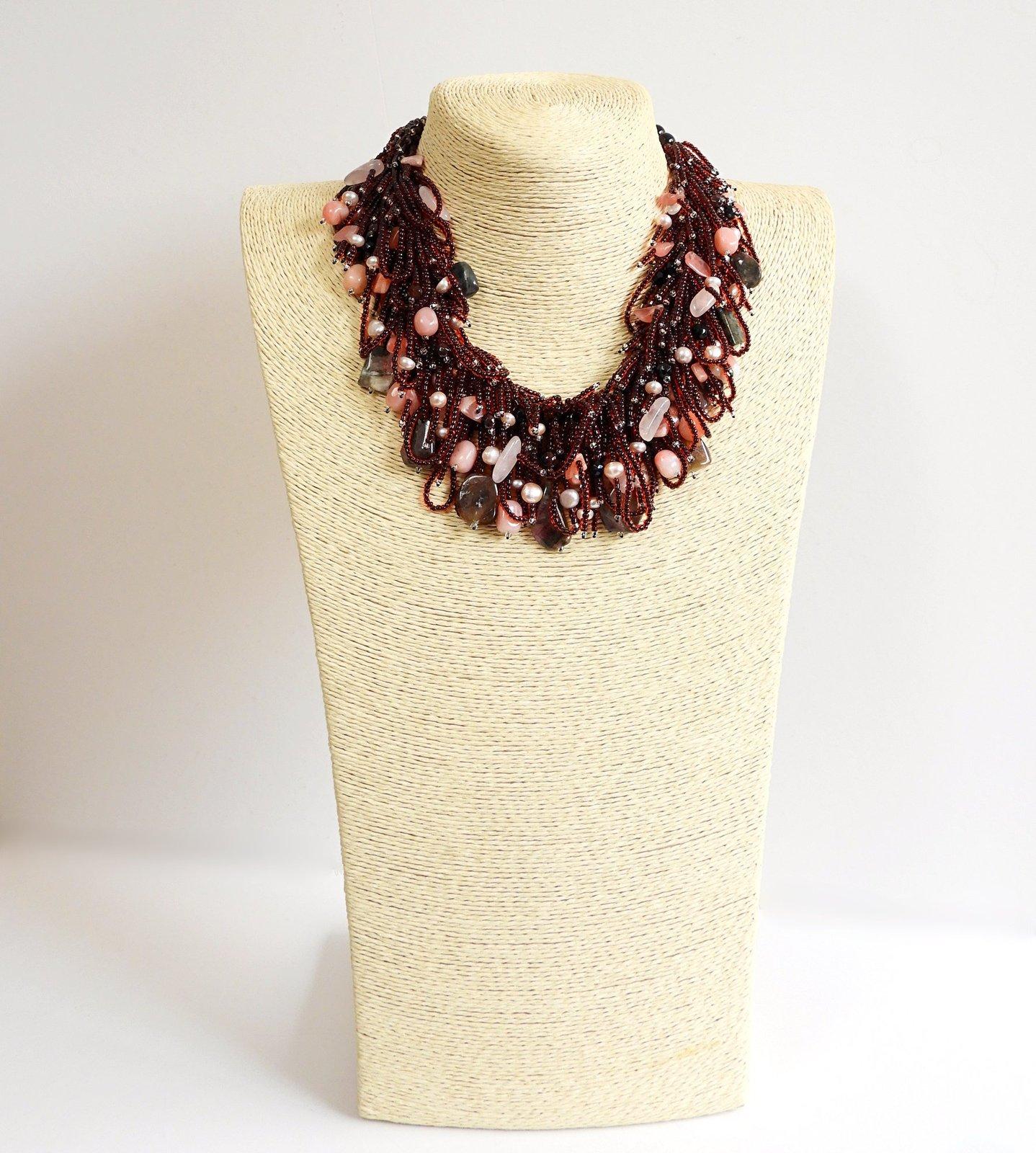 Tourmaline, Pink Opal, Rose Quartz and Garnet Necklace with Mauve Pearls