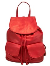 New Women's Made in Italy Red Soft Leather Backpack Shoulder Bag Purse - $113.84