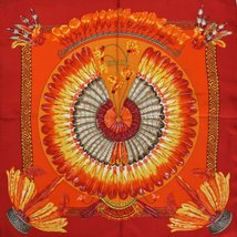 'Hermes of Paris Red & Orange 'Brazil' Feathers Pochette/ Pocket Sq' (NwT!) - $180.00