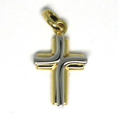 Colgante Cruz de Oro Blanco y Blanco 18K 750 Estilizado Hecho en Italia Joya