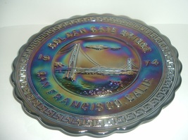 Westmoreland San Francisco Golden Gate Bridge Carnival Glass Plate 1974 - $49.99