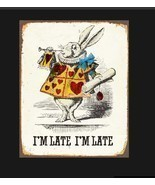 Alice in Wonderland White Rabbit I'm Late metal Sign, rabbit sign. Retro... - £8.06 GBP