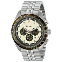 Fossil Men's Watch Stainless Steel Bracelet Chronograph White/Black Dial... - $190.97