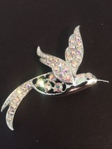 Vintage Sarah Coventry Pave Clear AB Rhinestone Bird Silver Tone Brooch - $15.79