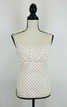 Maeve Anthropologie Blouse Top Womens 14 White Polka Dot Tank Tie Waist ... - $19.28