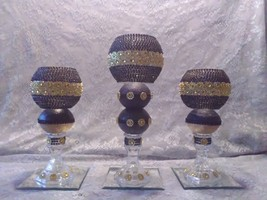 3pc. Black & Gold  Candleholder - $78.09