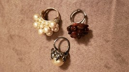Vintage Costume Jewelry Faux Pearl & Diamond, Faux Pearl, Faux Garnet Cl... - $39.60