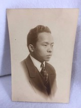 Vintage 1920's Photograph Asian Man in Suit Studio 21280 Sepia - $9.81