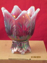 FentonPurple Irredescent Votive candle holder with frosted tips - $27.00