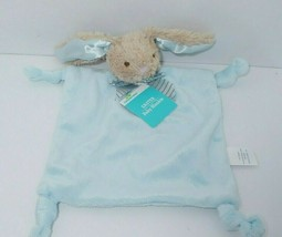 Dandee Tan Bunny blue Security Blanket striped bow knotted corner rattle... - $24.74