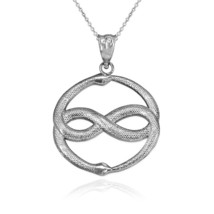 Sterling Silver Double Ouroboros Infinity Snakes Pendant Necklace - $19.99+