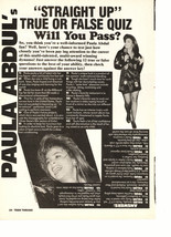 Paula Abdul teen magazine pinup clipping Straight up true or false quiz