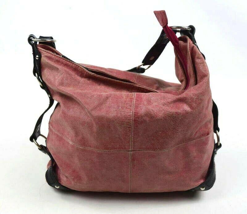 Tano Red Leather Hobo Shoulder Bag Studded Harness Strap Satchel Purse Medium image 3