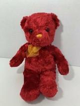 Aurora Peeple Pals red teddy bear yellow orange nose bow ribbon plush st... - $19.79