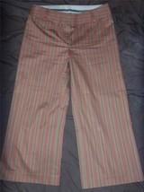 W7690 Women Express Correspondent Pink Tan Stripe Stretch Cropped Pants Capris 4 - $15.45