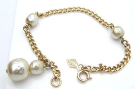 SARAH COVENTRY White Faux Pearl Gold Tone Chain Bracelet Vintage - $9.90