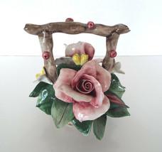 Rioleva Capodimonte Porcelain Floral Bouquet Signed Basket Italy Sculpture - $35.79