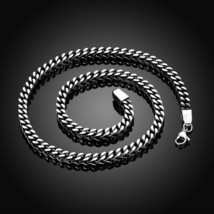 Mens Womens Stainless Steel Figaro Chain Necklace w Cross Pendant Silver... - $12.99