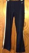 Sz S - Nike Solid Black w/White Stripe Polyspandex Athletic Apparel Long Pants - $18.99