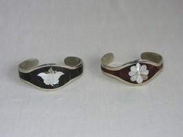 2 Vintage Cuff Bracelets Inlay MOP Abalone Shell Wood Retro - $31.67
