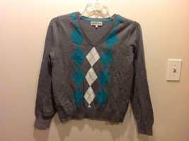 Ladies Jones New York SPORT Gray White Teal V Neck Sweater Sz L