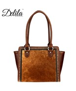 Delila ~ Montana West 100% Genuine Leather Hair On Hide trapezoid Tote H... - $169.99