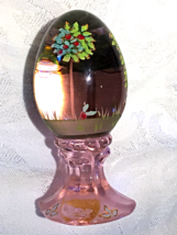 Fenton Glass Limited Edition Pink Clear Egg Hand Painted Signed - $20.00