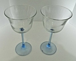 Luminarc France Clear Bowl  Blue Smooth Stem Water Flute Wine Glass Lot ... - $18.69