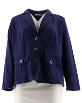 Isaac Mizrahi Knit Utility Jacket Patch Pockets Cadet Navy S NEW A279234 - $37.60