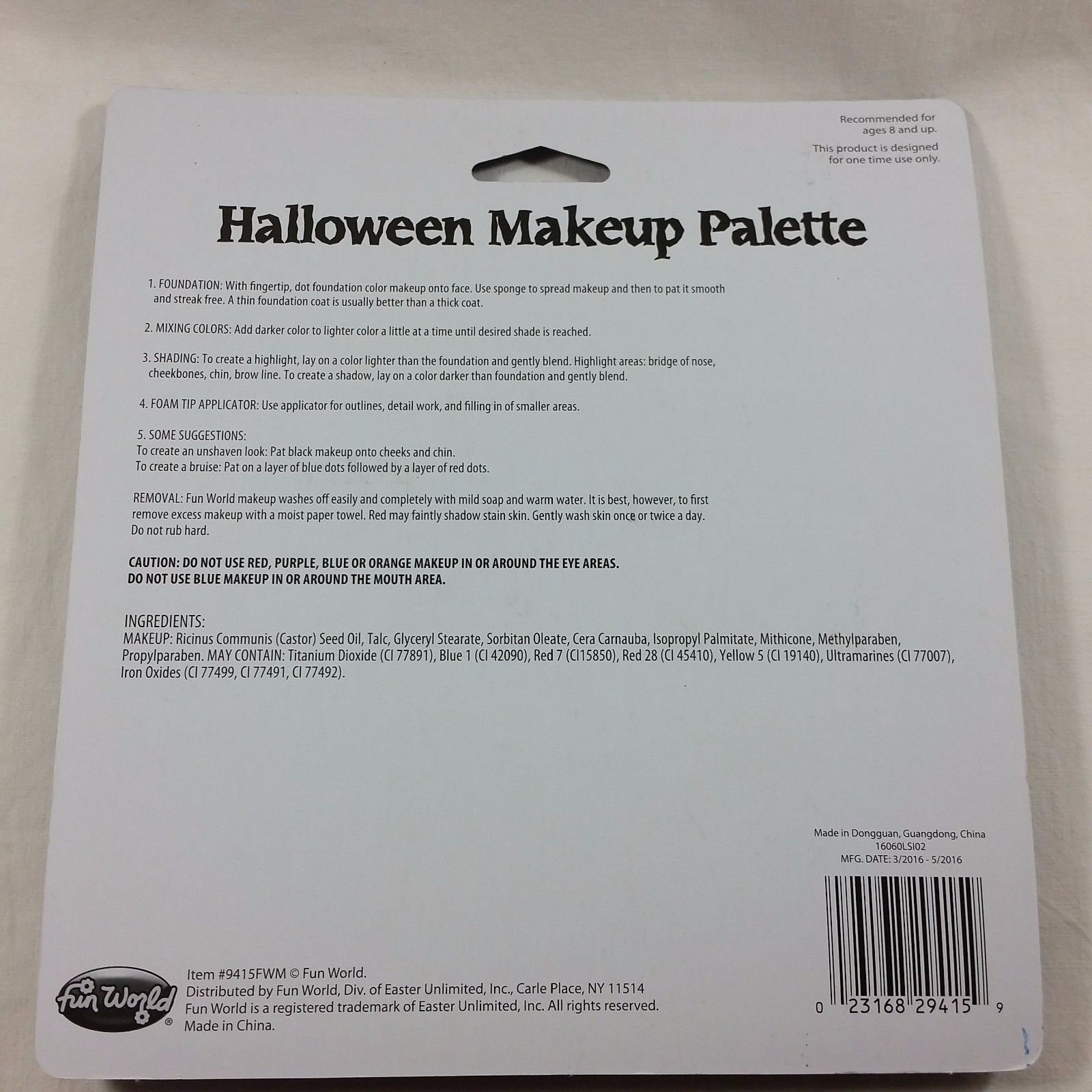 Halloween Makeup Palette 8 Colors Costume Grease Theatre Special Effects Dressup