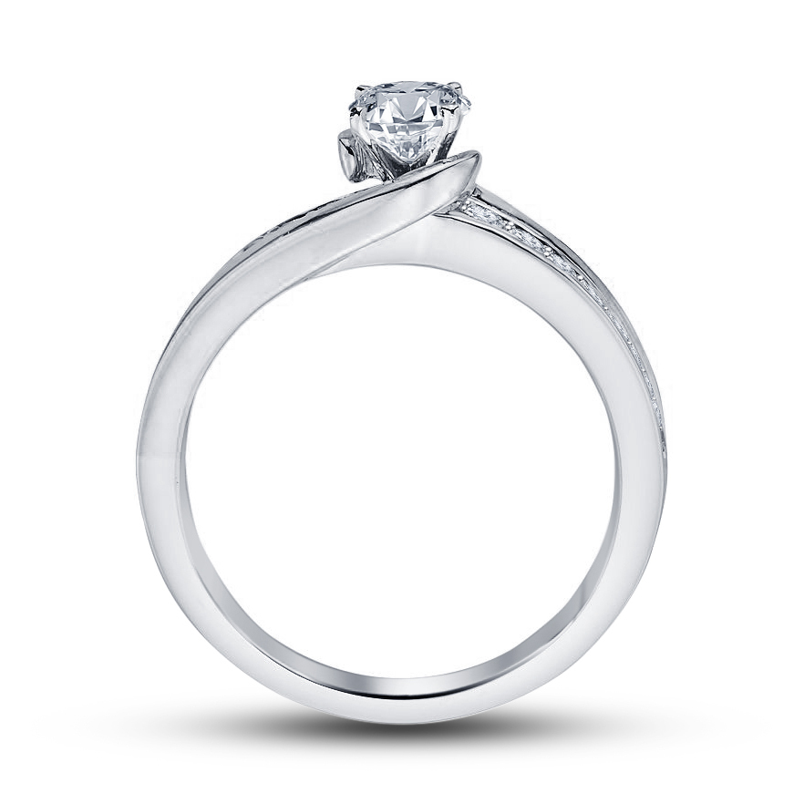 14k White Gold Plated 925 Sterling Silver Diamond Solitaire W/ Accents Ring