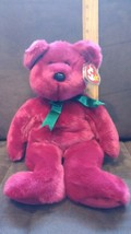 "Ty Beanie Buddy Teddy the Cranberry Bear 13"" 1998 Retired With Tag Prote... - $7.99"