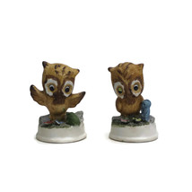 Pair of Porcelain Bisque OWL Figurines with Woodland Creatures | Vintage... - $12.82