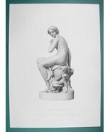 NUDE Nymph Surprised Sculpture - SUPERB 1850s Antique Print - $16.20