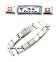 Taking Coumadin Medical Alert Super Link 9mm Italian Charm Bracelet - $19.79