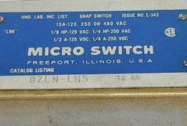 HONEYWELL MICRO SWITCH BZLN-LH5 SNAP SWITCH ISSUE NO. E-343 image 3