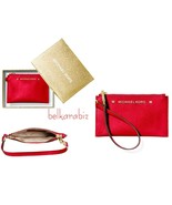 NWT MICHAEL KORS Karla Leather Wristlet Bright Red Gold Rouge Gift Box - $60.76
