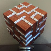 Monolith - Brazilian Cherry and Metal Tabletop Sculpture, Geometric Tabl... - $1,150.00