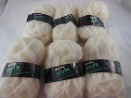 Lot 6 Skeins 40 gr. ea Bucilla Pouffe Yarn Vintage Ivory 77% Acrylic 23% Wool - $13.85