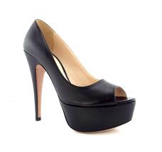 New PRADA Size 8.5 Black Leather Peep Toe Platform Heels Pumps Shoes 39 - $279.00