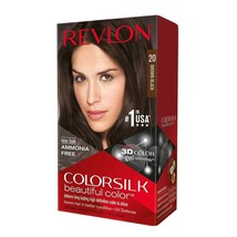 Revlon ColorSilk Beautiful Color Permanent Hair Dye 20 Brown Black - $19.79