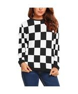 Black and White Checker Women's Long Sleeve Sweatshirt - $51.99